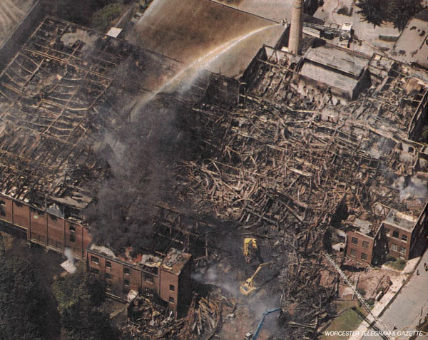 Prime Materials mill fire aerial Worcester Telegram July 23, 2007